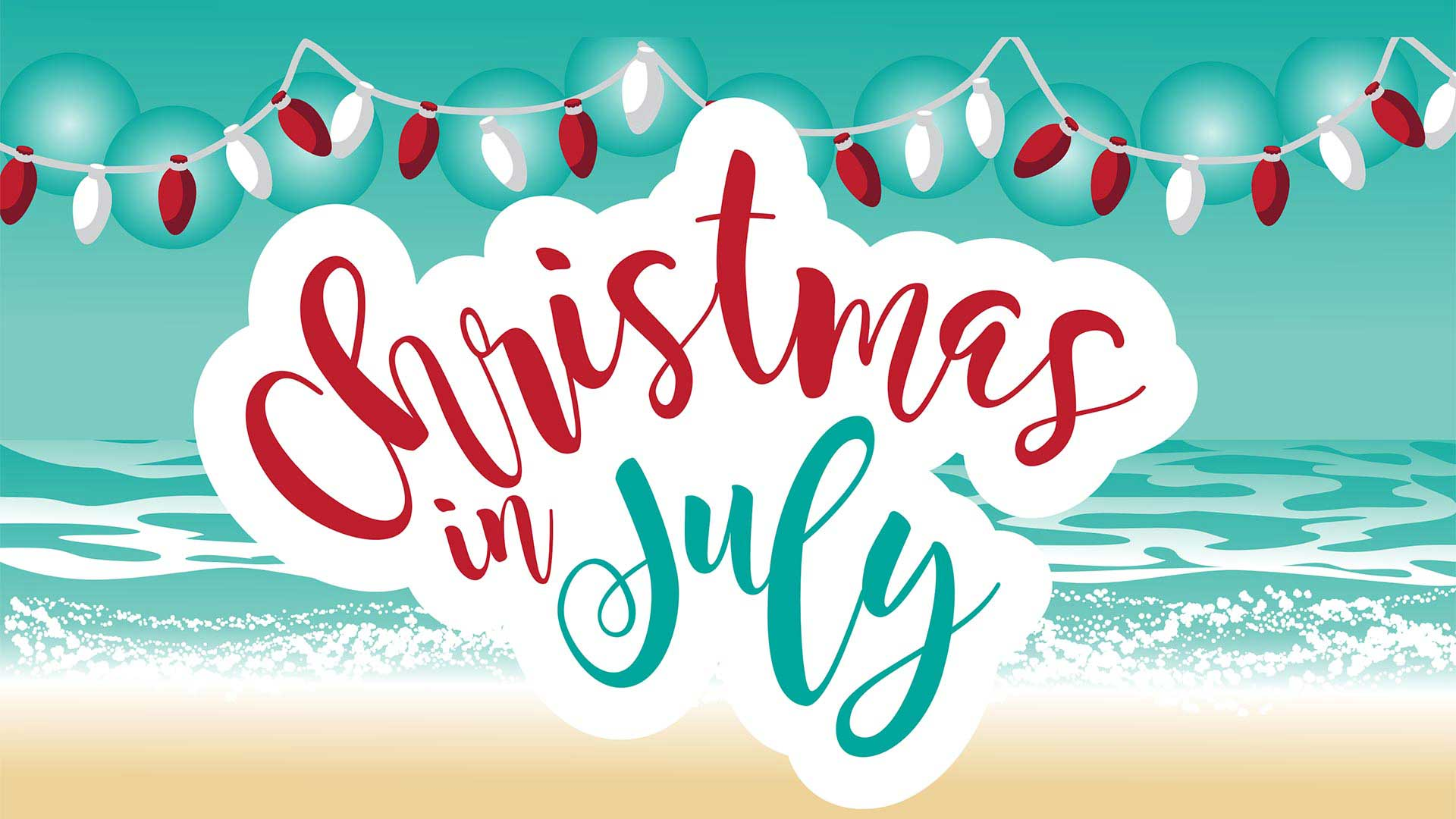Flyer for Campground Christmas in July Event at Shady Shores